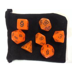 NONAME - Set de 7 dés - PHOSPHORESCENT - Orange/Noir