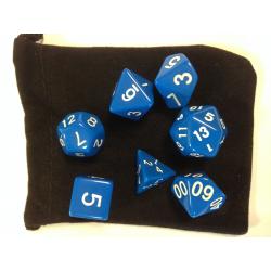 NONAME - Set de 7 dés - OPAQUE - Bleu/Blanc