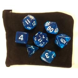 NOMAME - Set de 7 dés - TRANSPARENT - Bleu