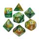 CHESSEX - Set de 7 dés - GEMINI - Or-Vert/Blanc