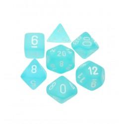 CHESSEX - Set de 7 dés - FROSTED - Turquoise/Blanc