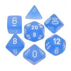 CHESSEX - Set de 7 dés - FROSTED - Bleu/Blanc