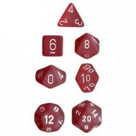 CHESSEX - Set de 7 dés - FROSTED - Rouge/Blanc