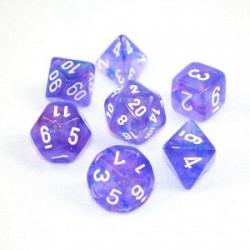 CHESSEX - Set de 7 dés - BOREALIS - Violet/Blanc