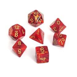 CHESSEX - Set de 7 dés - SCARAB - Scarlet/Or