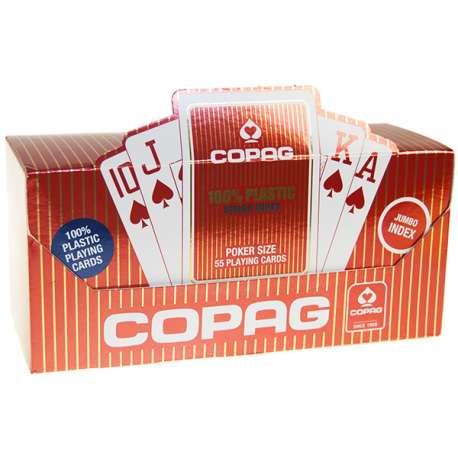 Cartouche de 12 Jeux de 55 cartes COPAG Poker Jumbo 100% Plastique (6xRouge + 6xBleu)