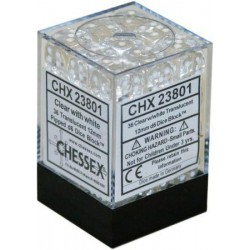 CHESSEX - Set de 36 dés 6 - TRANSPARENT - Clair/Blanc