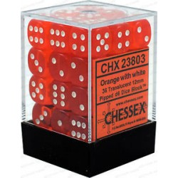CHESSEX - Set de 36 dés 6 - TRANSPARENT - Orange/Blanc