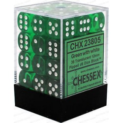 CHESSEX - Set de 36 dés 6 - TRANSPARENT - Vert/Blanc