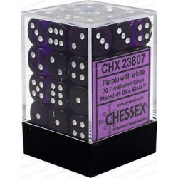 CHESSEX - Set de 36 dés 6 - TRANSPARENT - Violet/Blanc