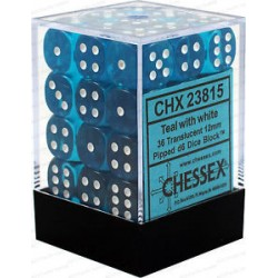 CHESSEX - Set de 36 dés 6 - TRANSPARENT - Sarcelle/Blanc