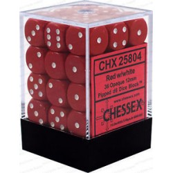 CHESSEX - Set de 36 dés 6 - OPAQUE - Rouge/Blanc