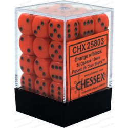 CHESSEX - Set de 36 dés 6 - OPAQUE - Orange/Noir