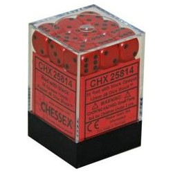 CHESSEX - Set de 36 dés 6 - OPAQUE - Rouge/Noir