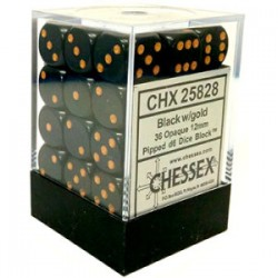 CHESSEX - Set de 36 dés 6 - OPAQUE - Noir/Or