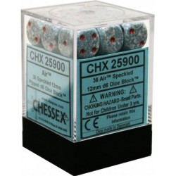 CHESSEX - Set de 36 dés 6 - GRANITE - AIR Gris/Rouge