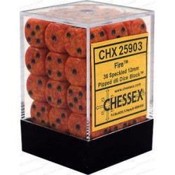 CHESSEX - Set de 36 dés 6 - GRANITE - FIRE Orange/Noir