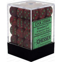 CHESSEX - Set de 36 dés 6 - GRANITE - STRAWBERRY Rouge/Vert