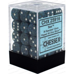 CHESSEX - Set de 36 dés 6 - GRANITE - SEA Bleu-Vert/Blanc