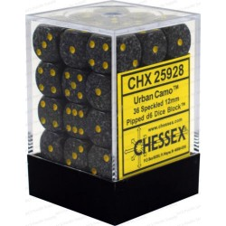 CHESSEX - Set de 36 dés 6 - GRANITE - URBAN Gris/Jaune