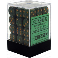 CHESSEX - Set de 36 dés 6 - GRANITE - GOLDEN RECON Vert/Or