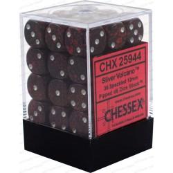 CHESSEX - Set de 36 dés 6 - GRANITE - SILVER VOLCANO Magma/Gris