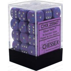 CHESSEX - Set de 36 dés 6 - GRANITE - SILVER TETRA Violet/Gris