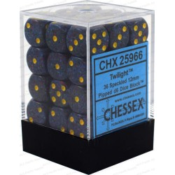 CHESSEX - Set de 36 dés 6 - GRANITE - TWILIGHT Violet/Jaune