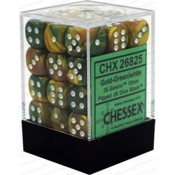 CHESSEX - Set de 36 dés 6 - GEMINI - Or - Vert/Blanc