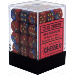 CHESSEX - Set de 36 dés 6 - GEMINI - Bleu - Rouge/Or