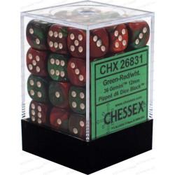 CHESSEX - Set de 36 dés 6 - GEMINI - Vert - Rouge/Blanc