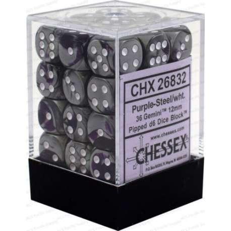 CHESSEX - Set de 36 dés 6 - GEMINI - Violet - Acier/Blanc