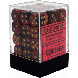 CHESSEX - Set de 36 dés 6 - GEMINI - Noir - Rouge/Or