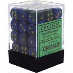 CHESSEX - Set de 36 dés 6 - GEMINI - Bleu - Vert/Or