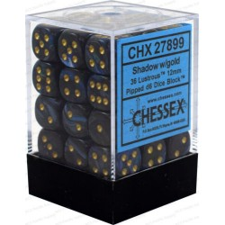 CHESSEX - Set de 36 dés 6 - LUSTROUS - Shadow/Or