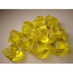 CHESSEX - Set de 10 dés 10 - TRANSPARENT - Jaune/Blanc