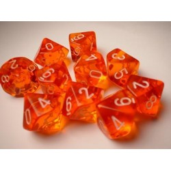 CHESSEX - Set de 10 dés 10 - TRANSPARENT - Orange/Blanc