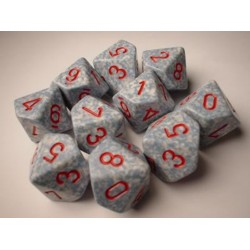 CHESSEX - Set de 10 dés 10 - GRANITE - AIR Gris/Rouge