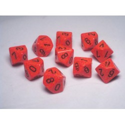 CHESSEX - Set de 10 dés 10 - GRANITE - FIRE Orange/Noir