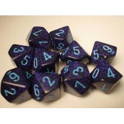 CHESSEX - Set de 10 dés 10 - GRANITE - COBALT Cobalt/Bleu