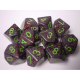 CHESSEX - Set de 10 dés 10 - GRANITE - EARTH Noir/Vert