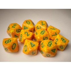CHESSEX - Set de 10 dés 10 - GRANITE - LOTUS Orange/Vert