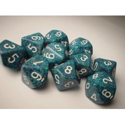 CHESSEX - Set de 10 dés 10 - GRANITE - SEA Bleu-Vert/Blanc