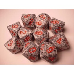 CHESSEX - Set de 10 dés 10 - GRANITE - GRANITE Grisé/Rouge