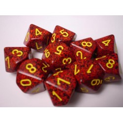 CHESSEX - Set de 10 dés 10 - GRANITE - MERCURY Rouge/Jaune