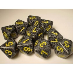 CHESSEX - Set de 10 dés 10 - GRANITE - URBAN Gris/Jaune
