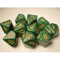 CHESSEX - Set de 10 dés 10 - GRANITE - GOLDEN RECON Vert/Or