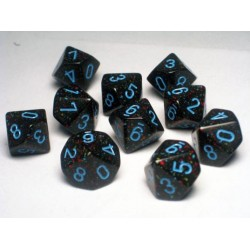 CHESSEX - Set de 10 dés 10 - GRANITE - BLUE STAR Noir/Bleu