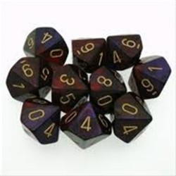 CHESSEX - Set de 10 dés 10 - GEMINI - Violet-Rouge/Or