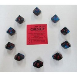 CHESSEX - Set de 10 dés 10 - GEMINI - Noir-Starlight/Rouge